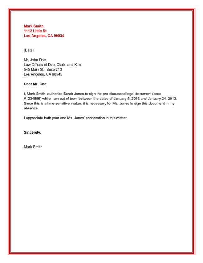 Authorization Letter Sample | Business Mentor