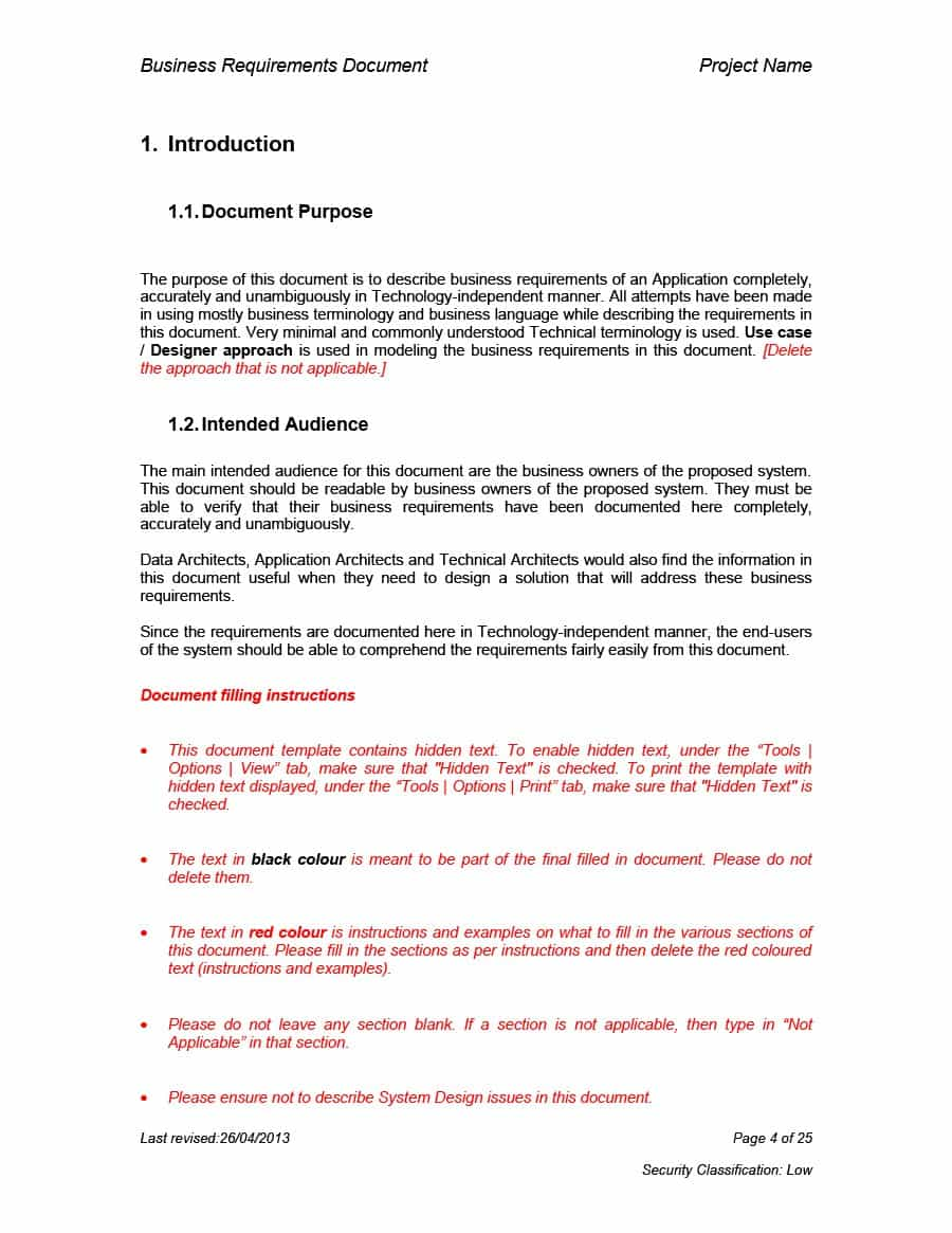 Simple Business Requirement Document Template   Business ...